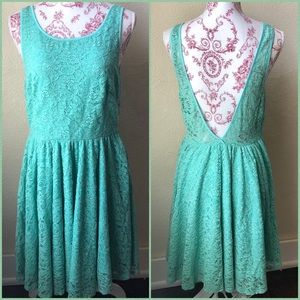 Pins and Needles Lace Overlay Deep V Back Dress 8